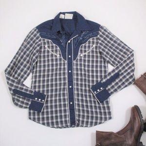 Vtg 70s Western Shirt Plaid Blue Rockabilly EUC